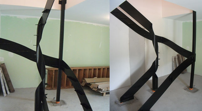 escalier 2 quartiers tournants chantier en cours. Black Bedroom Furniture Sets. Home Design Ideas